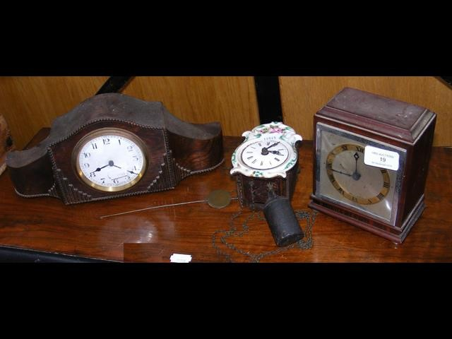Lot 19 - Two mantel clocks, together with a miniature hangi