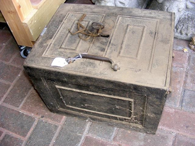 Lot 4 - Antique metal floor safe with key