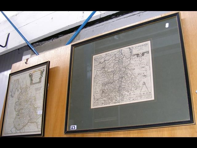 "Lot 23 - Antique map ""The County Palatine of Lancaster"" by ROBERT MO"