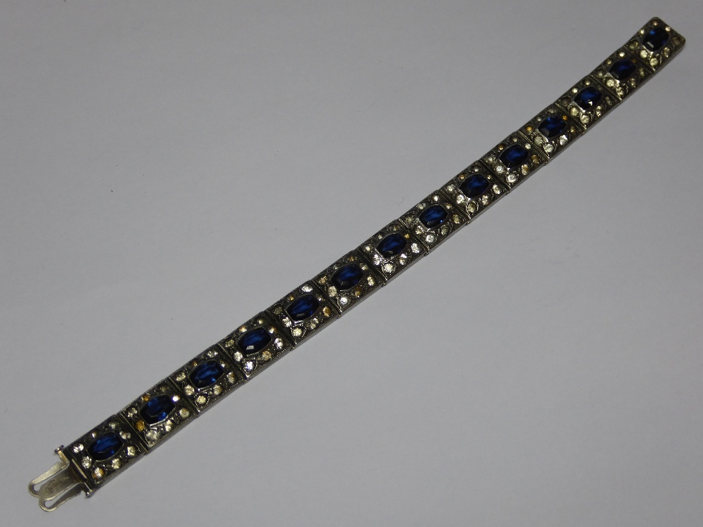 A deco period white metal bracelet set w
