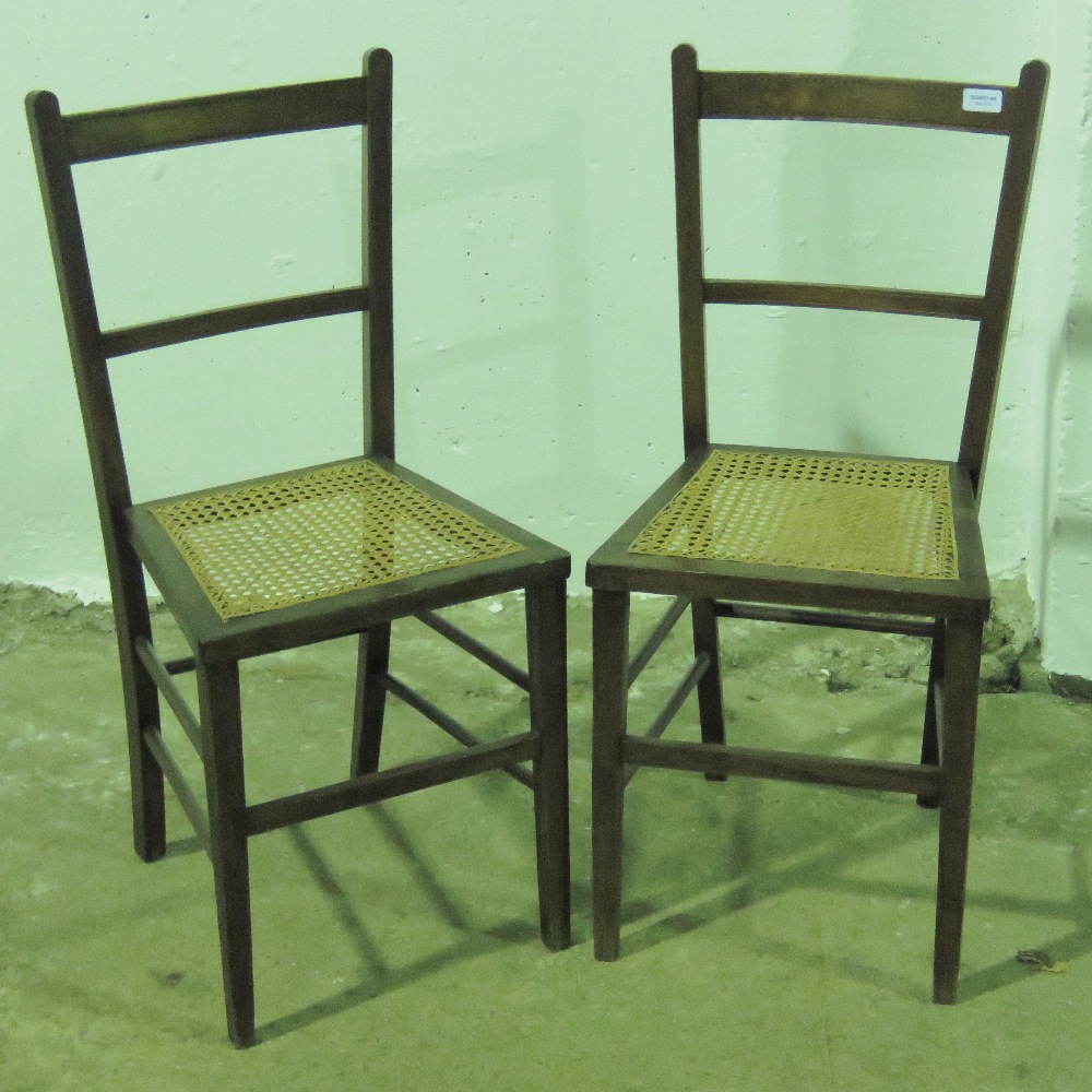 Lot 767 - A pair of cane seated bedroom chairs c19