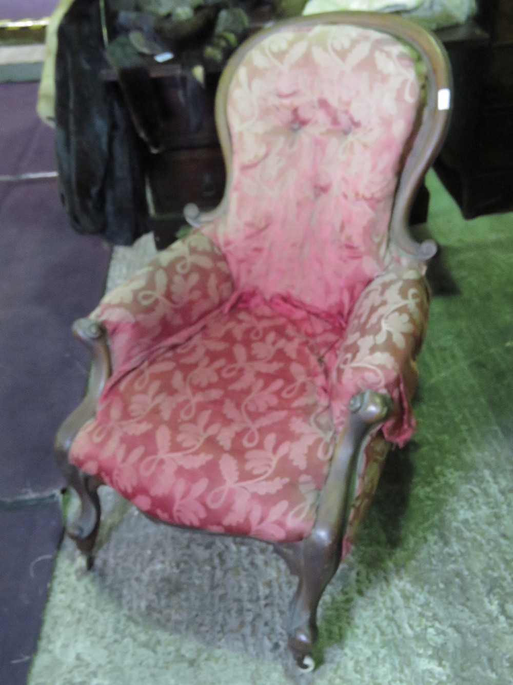 Lot 792 - A single oval unpainted salon chair havi