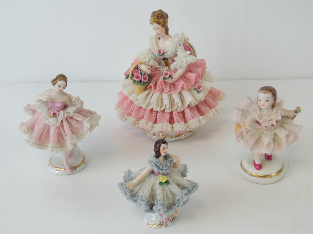 Three Continental porcelain ladies in th