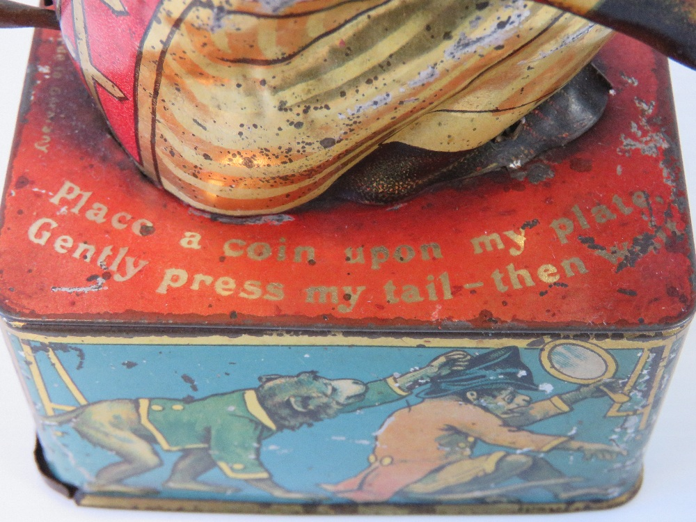 A rare tin plate monkey money box with m - Image 4 of 5