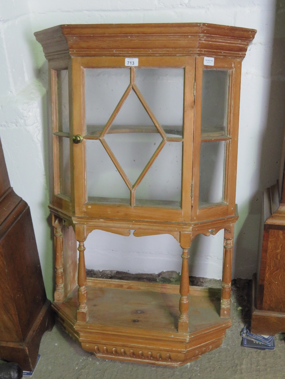 Lot 713 - A wall hanging pine lazed display cabine