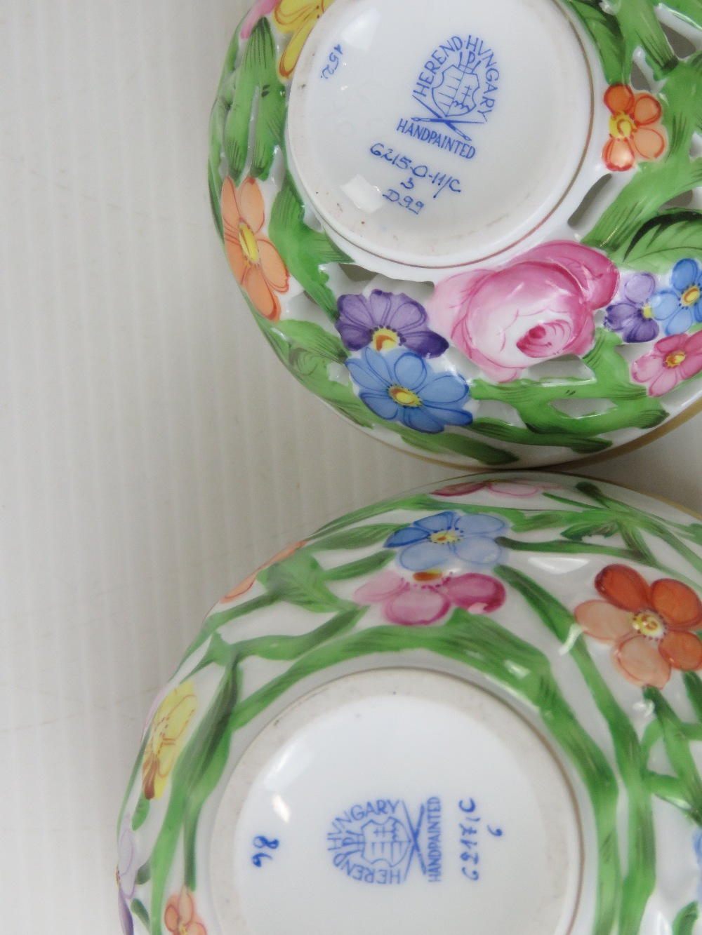 A Herend porcelain reticulated floral st - Image 2 of 2