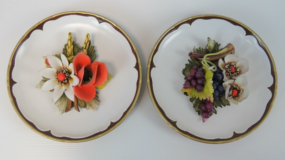 Two Capodimonte decorative floral plates