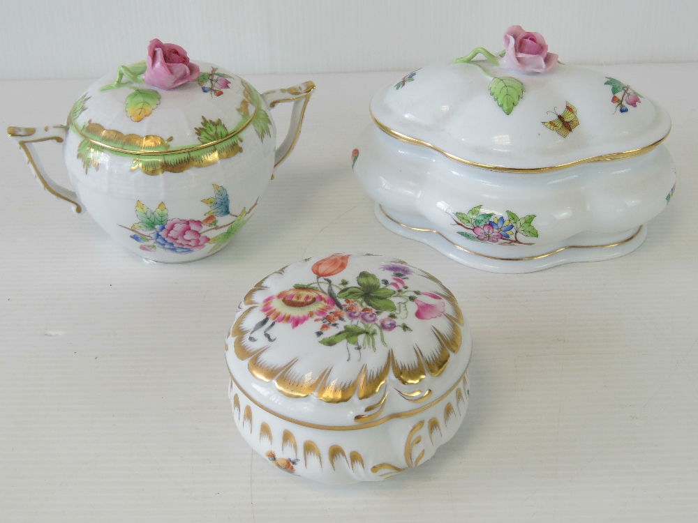 A Herend porcelain sugar bowl with twin