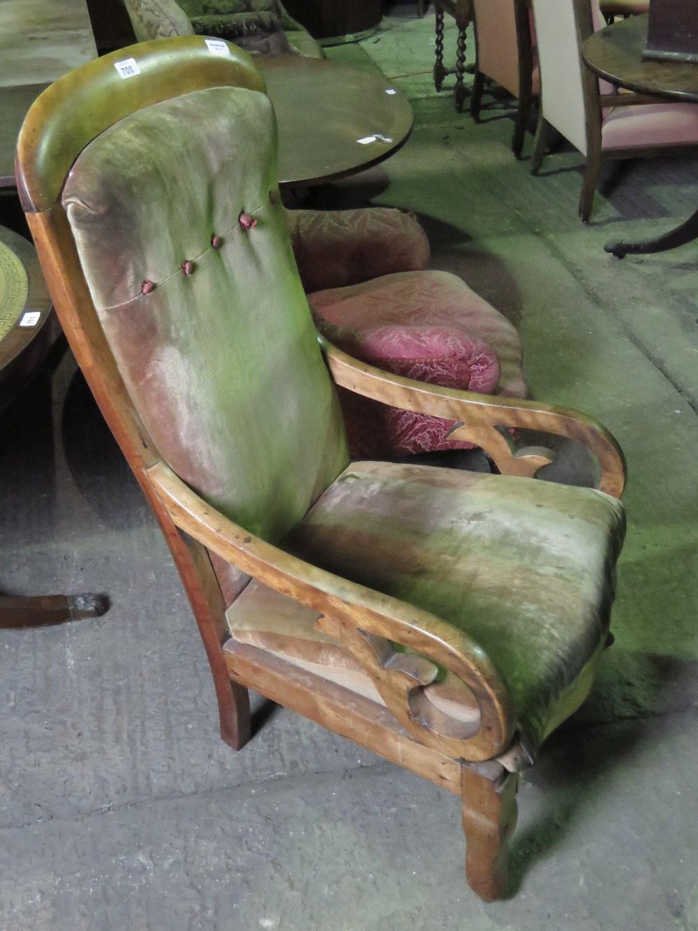 Lot 708 - A mahogany framed open arm high back dra