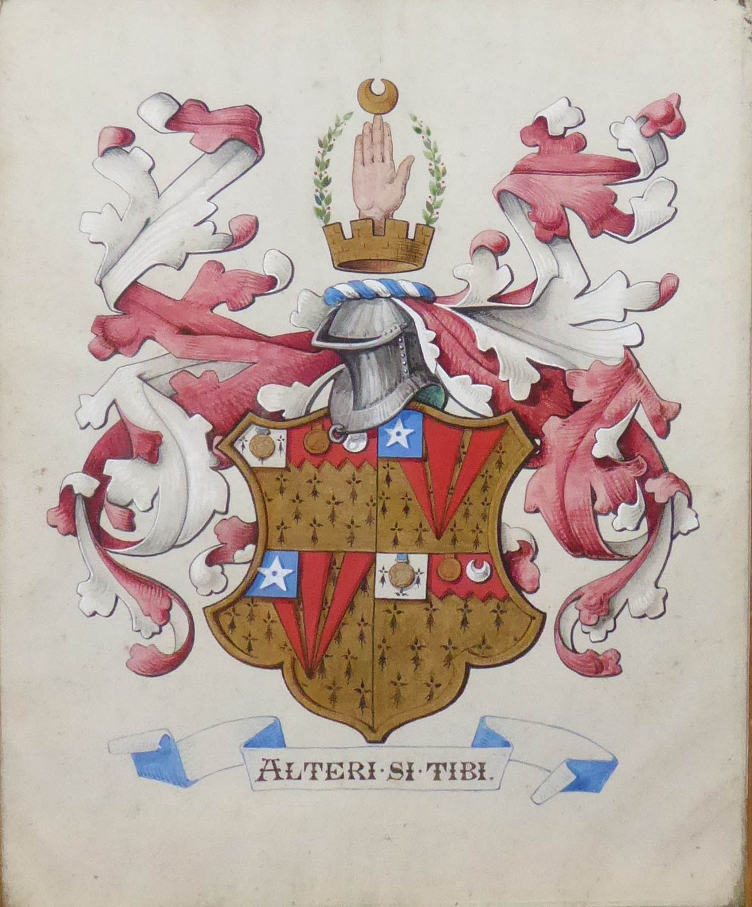 Lot 341 - A 19TH CENTURY WATERCOLOUR OF A HERALDIC COAT OF ARMS Bearing the motto ?Alteri Si Tibi?,
