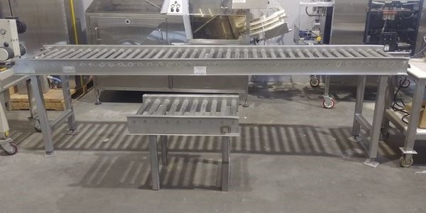 "Lot 3 - 10 ft x 23"" All Stainless Steel Roller Conveyor"