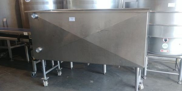 "Lot 34 - Rectangular Stainless Steel Tank on Casters. Approx. 75"" x 27"""