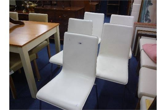 A Set Of Five White Leather Dining Chairs With Chrome Legs Possibly Habitat Verdi S D