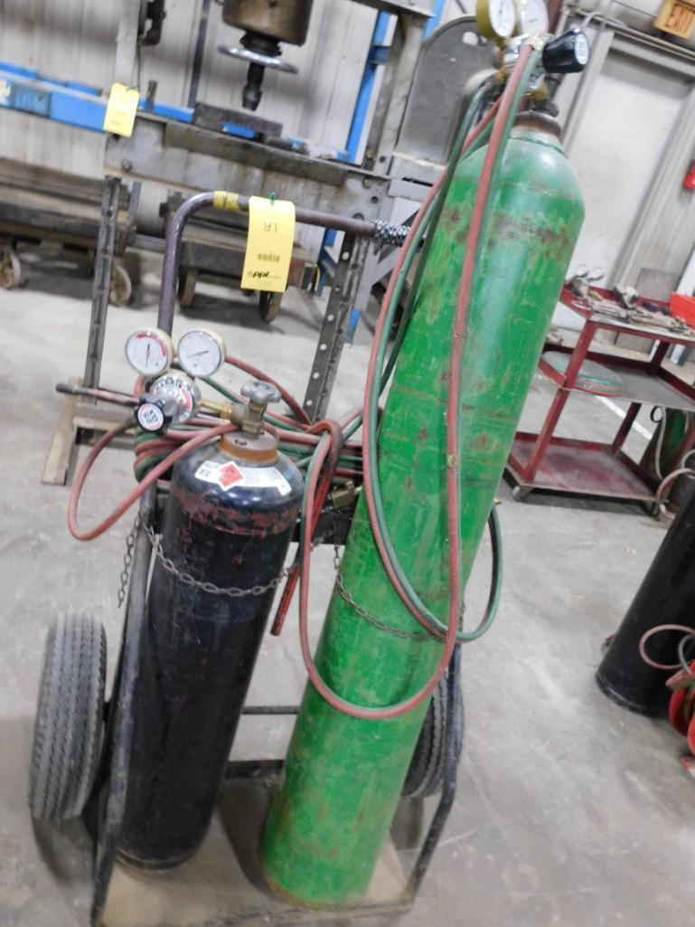 LOT: Torch Cart with Bottles, Hoses, Gauges, Torch