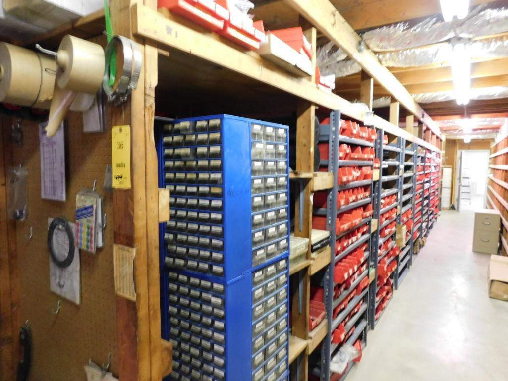 LOT: (1) Row of Shelving (both sides) with Contents of Hardware, Hubs, Bearing Kits, Bush Hog Parts,