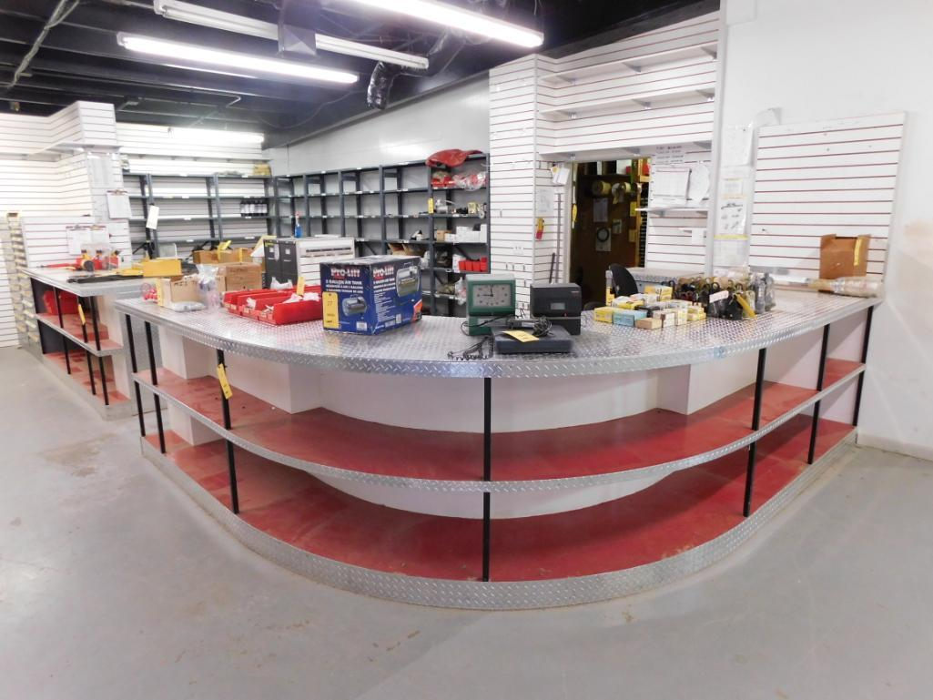 LOT: 23 ft. x 12 ft. x 36 in. 2-Side Diamond Plate Parts Department Counter, with Service & Parts Ma
