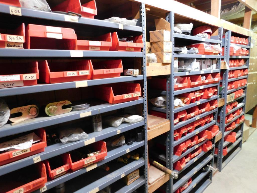 LOT: (1) Row of Shelving (both sides) with Contents of Hardware, Hubs, Bearing Kits, Bush Hog Parts, - Image 2 of 4