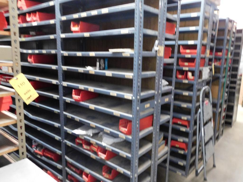 LOT: Contents of Parts Room including Large Quantity of Steel Shelving Units with Contents of Spark