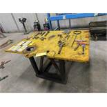 LOT: 41 in. x 58 in. x 1 in. Steel Table with Contents of Assorted Clevis Hooks, etc.