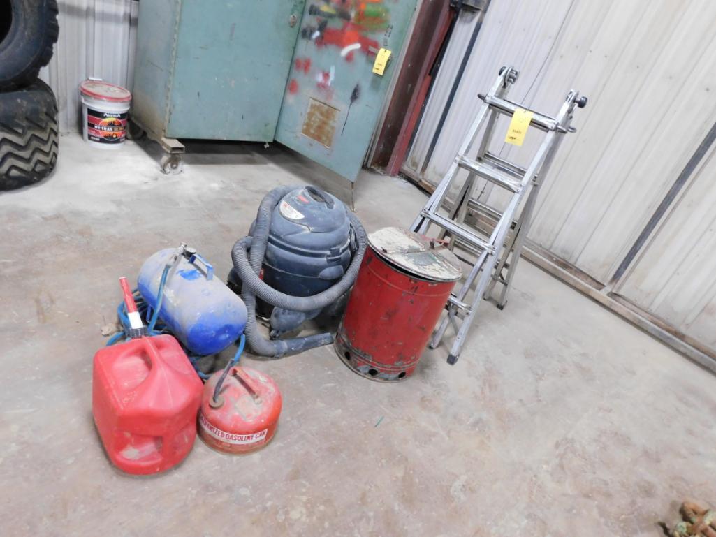 LOT: Shop Vac, Air Tank, Ladder, Fuel Tanks