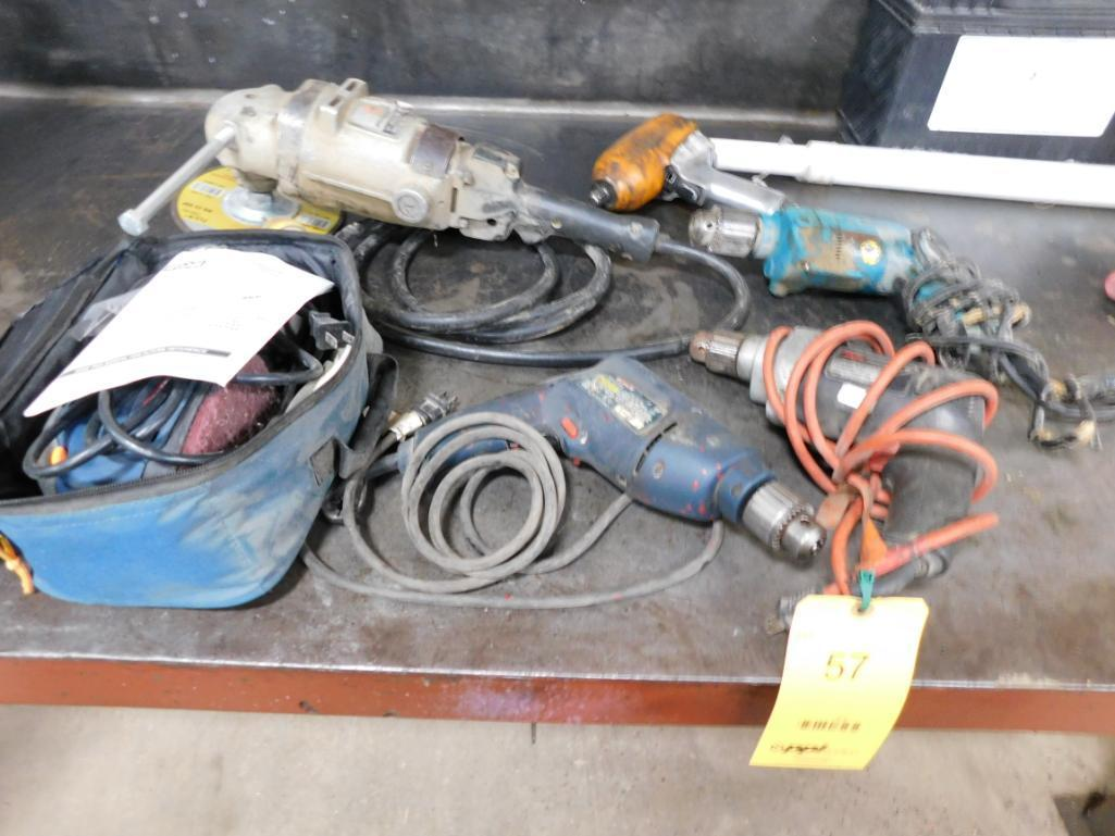 LOT: Right Angle Grinder, 1/2 in. Pneumatic Impact Wrench, (3) Drills