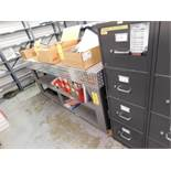 LOT: 26 in. x 84 in. Diamond Plate Work Bench, (2) File Cabinets