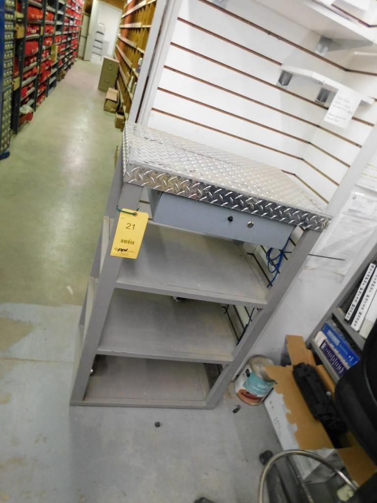 18 in. x 26 in. Diamond Plate Table, with Cash Drawer