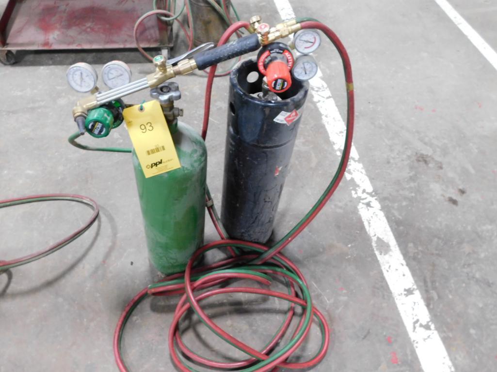 LOT: Torch Unit with Bottles, Hoses, Gauges, Torch
