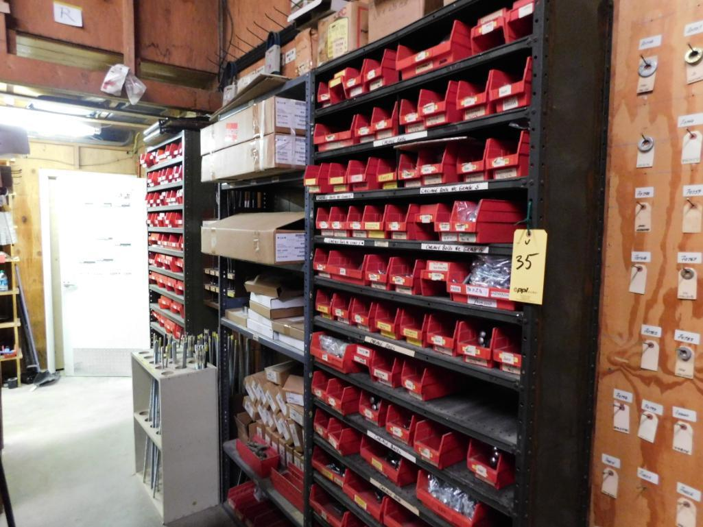 LOT: (3) Sections Steel Shelving with Contents of Assorted Hardware, Parts, Threaded Rod, Belts, Par - Image 2 of 2