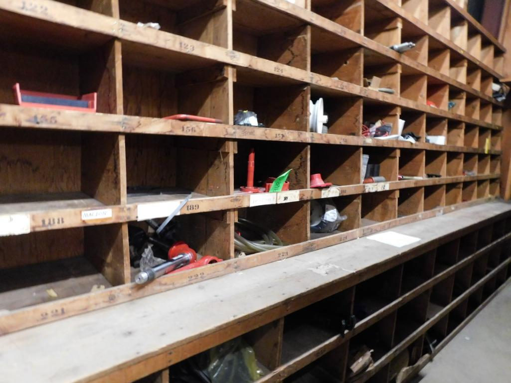 LOT: Wood Parts Bins with Contents of Knives, Shafts, Scraper Discs, Feed Tubes, etc. - Image 4 of 4