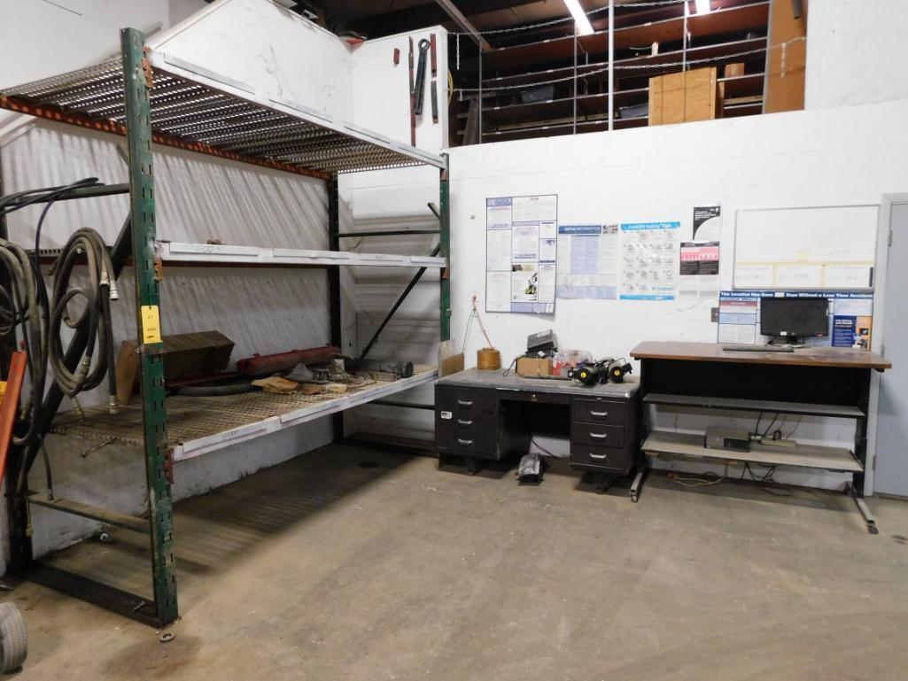 LOT: 9 ft. Wide x 48 in. Deep x 8 ft. High Pallet Rack with Desk, Table & Assorted Contents