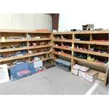 LOT: Wood Shelving Units with Contents of Welding Supplies, Abrasives, Electrical Supplies, Fire Ext