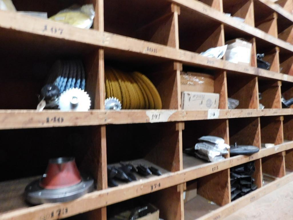 LOT: Wood Parts Bins with Contents of Knives, Shafts, Scraper Discs, Feed Tubes, etc. - Image 2 of 4