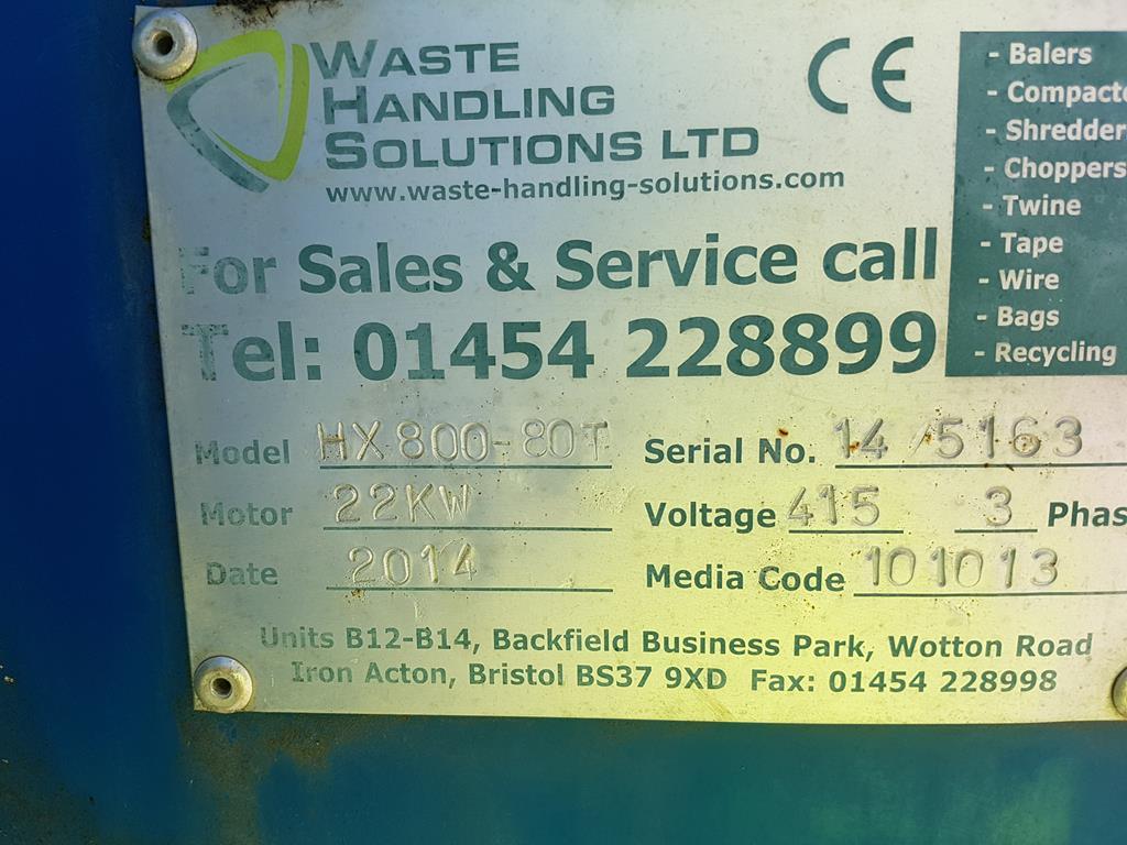 Waste Handling Solutions 80 tonnes capacity horizontal Baler - Image 4 of 13
