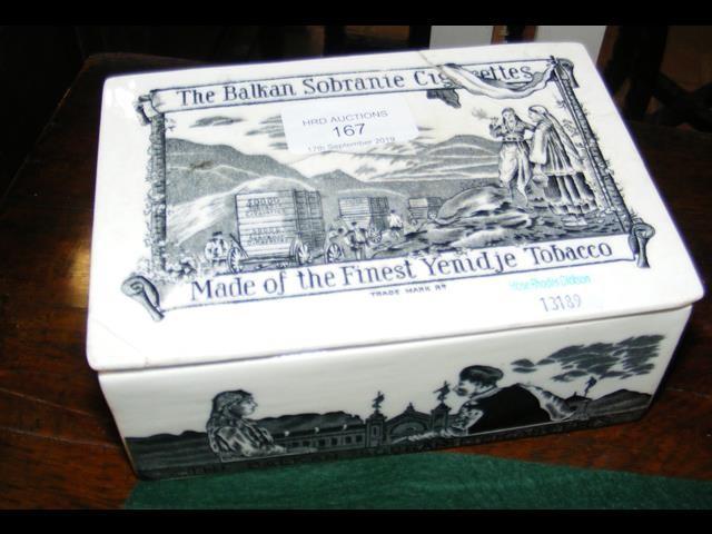 Lot 167 - A ceramic transfer printed Balkan cigarettes and t