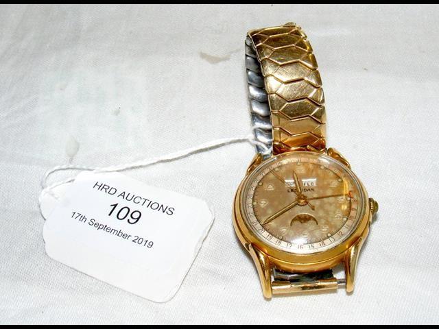 Lot 109 - A gent's Leonidas gold plated full calendar wristw
