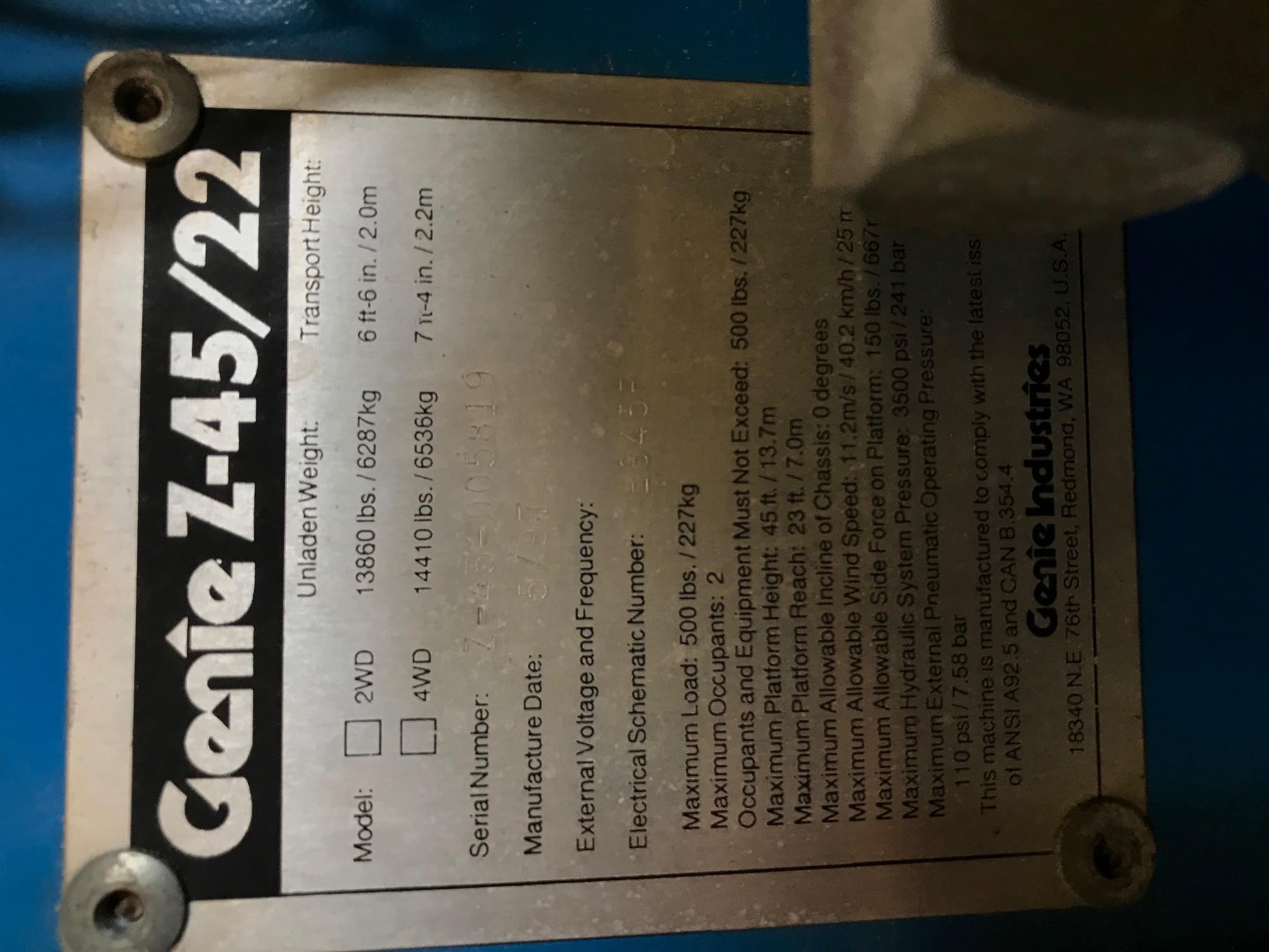 Lot 4 - Genie Z45/22 Knuckle Boom