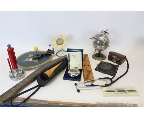 The Dalvey Voyager Clock, in fitted case, students' microscope in wooden case and various scientific and medical instruments