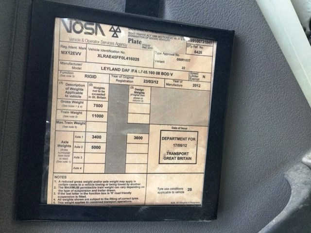 Lot 18 - 2012 | DAF FA LF45 7.5 Rigid w/ Tail Lift | 200,315 Km