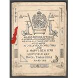 XMAS 1916 GREETING CARD FROM 103RD FIELD COMPANY ROYAL ENGINEERS WE ARE THE BOYS OF THE 103