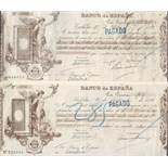 TWO EARLY SPANISH CHEQUES 1892 BANCO DE ESPANA STAMPED AND USED