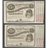 1870s TWO STATE OF LOUISIANA FIVE DOLLARS BABY BONDS