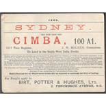 SYDNEY CIMBA THE FINE IRON SHIP 1899 PASS FOR LOAD IN THE SOUTH WEST INDIA DOCKS