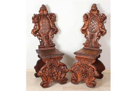 Zwei antike italienische renaissance sgabello st�hle hand