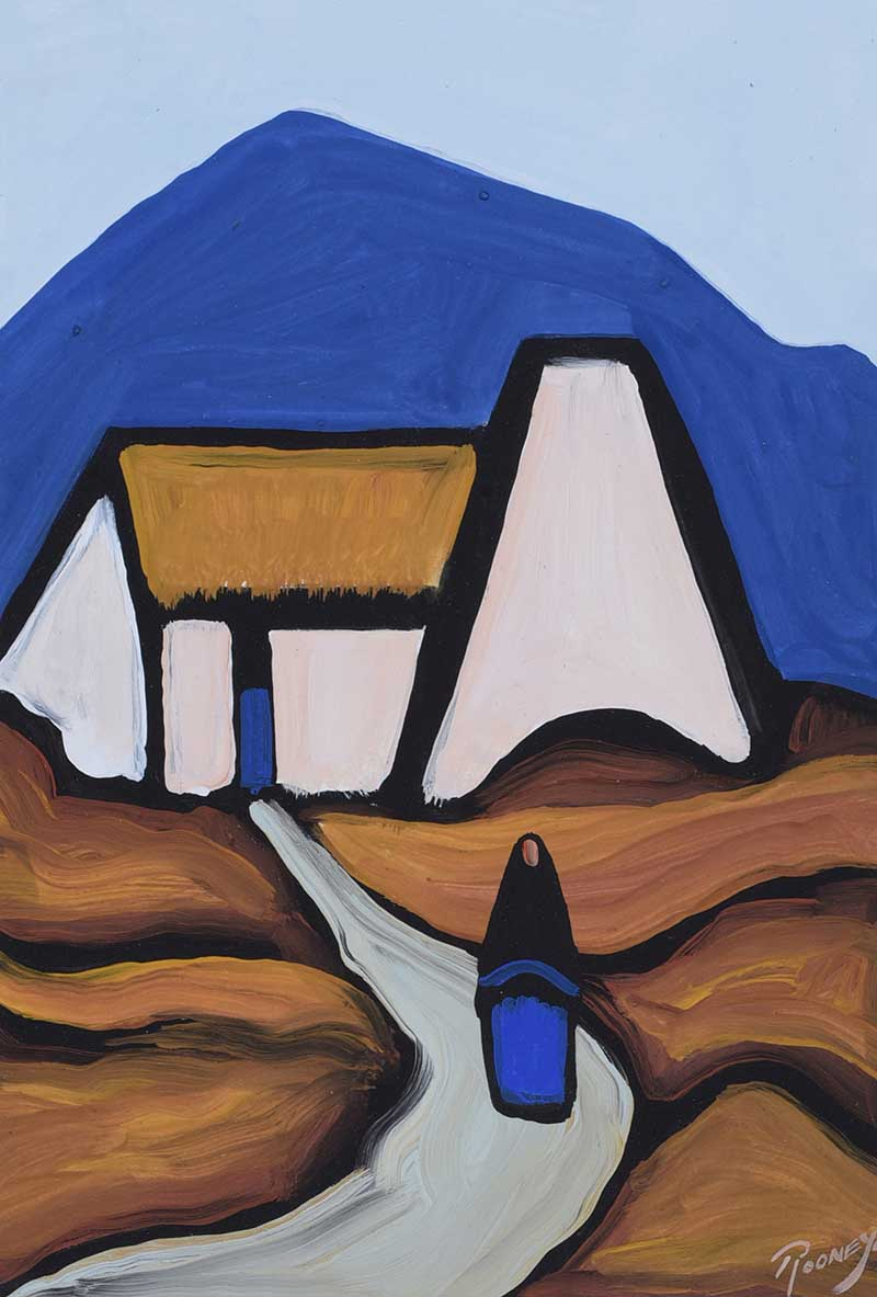 Lot 37 - J.P. Rooney - DOWN THE HILL - Oil on Board - 12 x 9 inches - Signed