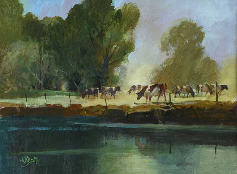 Lot 58 - Robert D. Beattie - CATTLE GRAZING BY THE RIVER LAGAN - Oil on Board - 11.5 x 15.5 inches - Signed