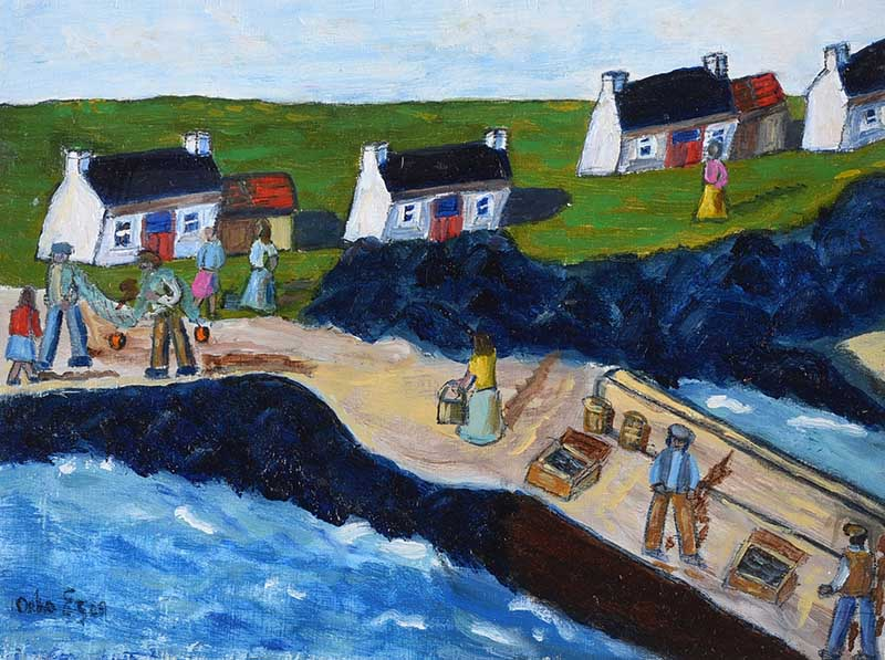 Lot 20 - Orla Egan - LANDING THE CATCH ON GREAT BLASKET ISLAND, KERRY - Oil on Board - 7 x 8.5 inches -