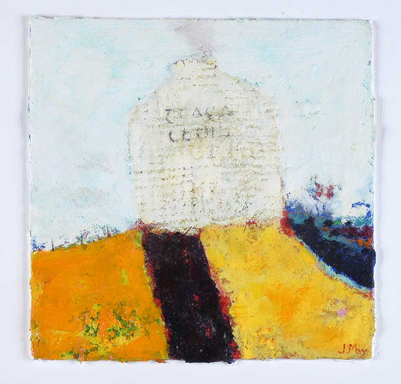Lot 31 - James May - THE SMOKE WHICH ROSE ABOVE THE COVERED HILL - Mixed Media - 12 x 12 inches - Signed