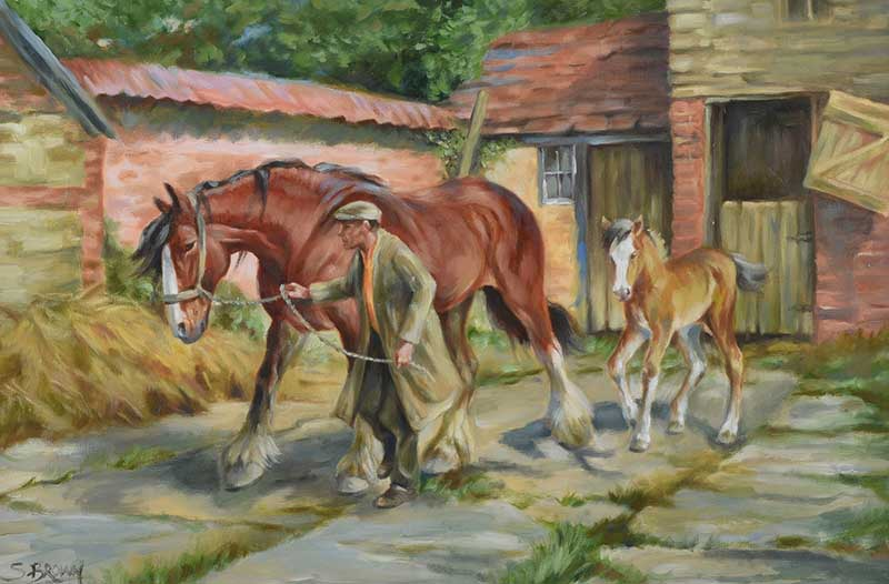 Lot 42 - Stephen Brown - THE SHIRE HORSE - Oil on Canvas - 20 x 30 inches - Signed