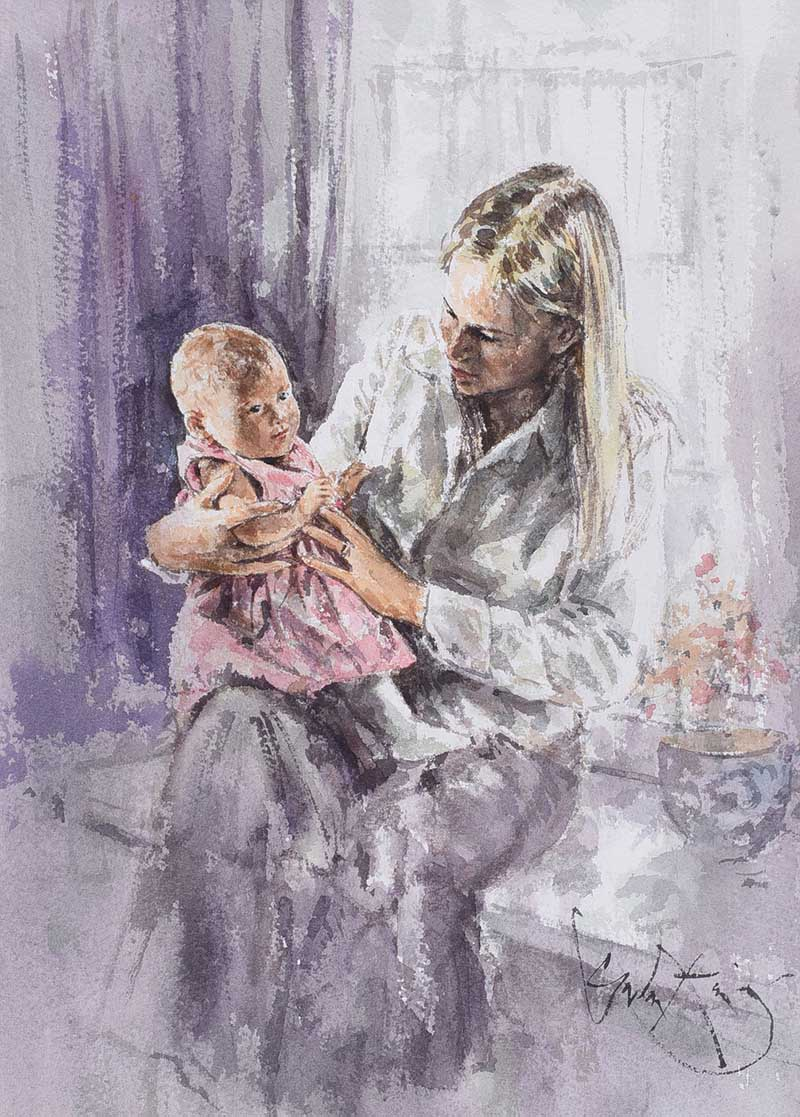 Lot 5 - Gordon King - MOTHER & CHILD - Watercolour Drawing - 14 x 10 inches - Signed